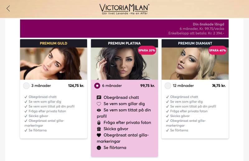 Victoria Milan pris kostnad