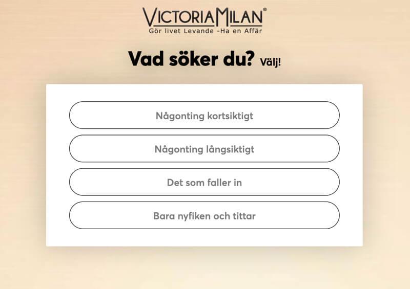 Victoria Milan Vad söker du registrering